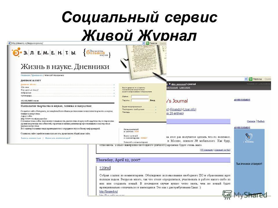 Социальный сервис Живой Журнал