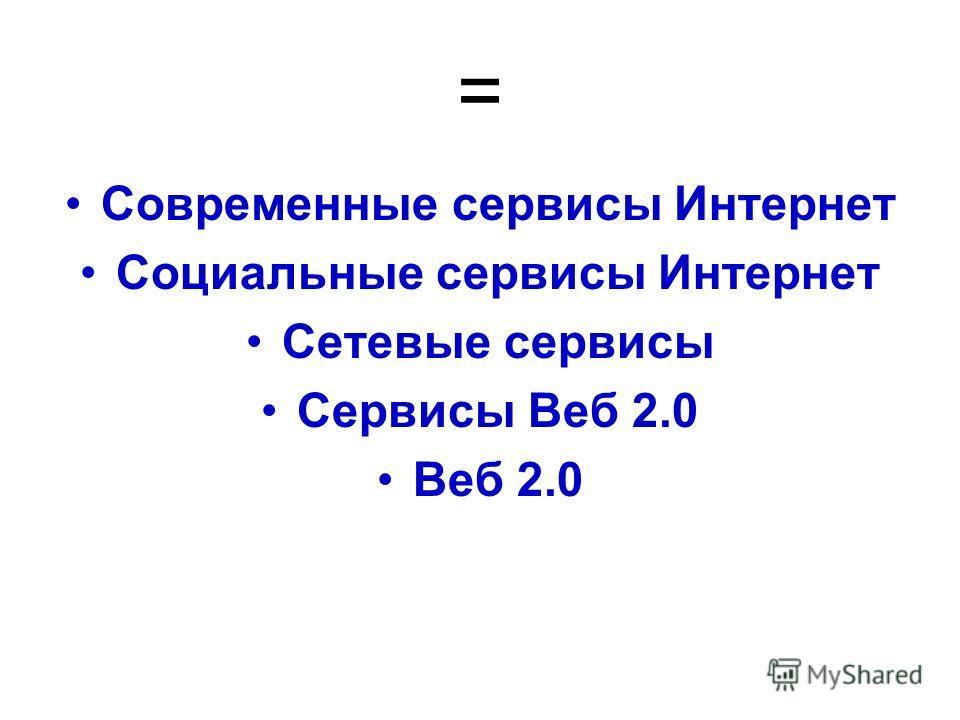 = Современные сервисы Интернет Социальные сервисы Интернет Сетевые сервисы Сервисы Веб 2.0 Веб 2.0
