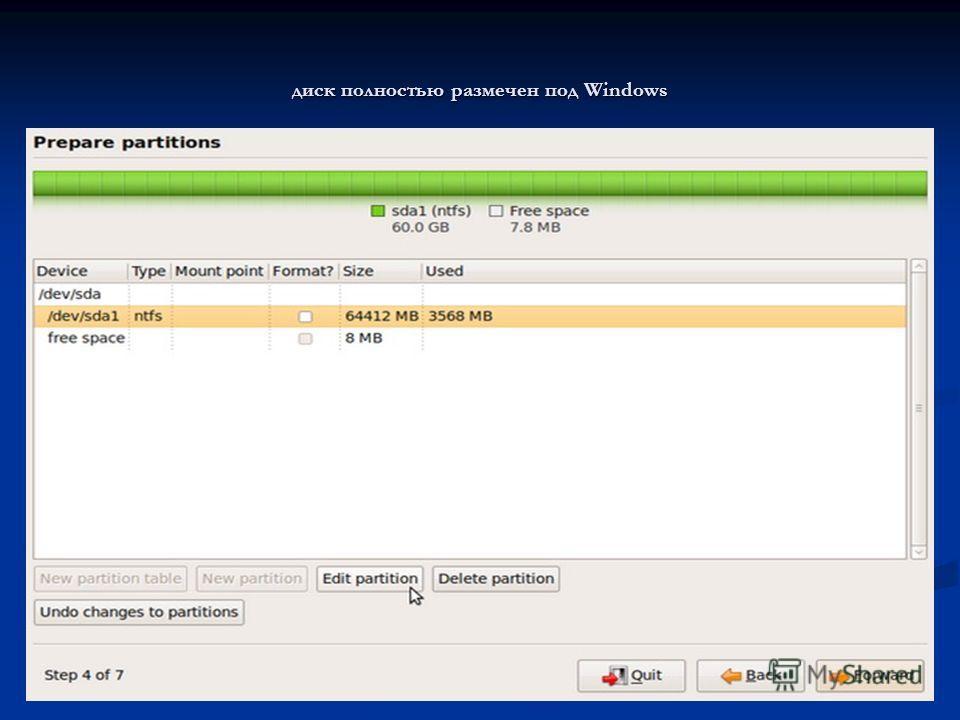 диск полностью размечен под Windows