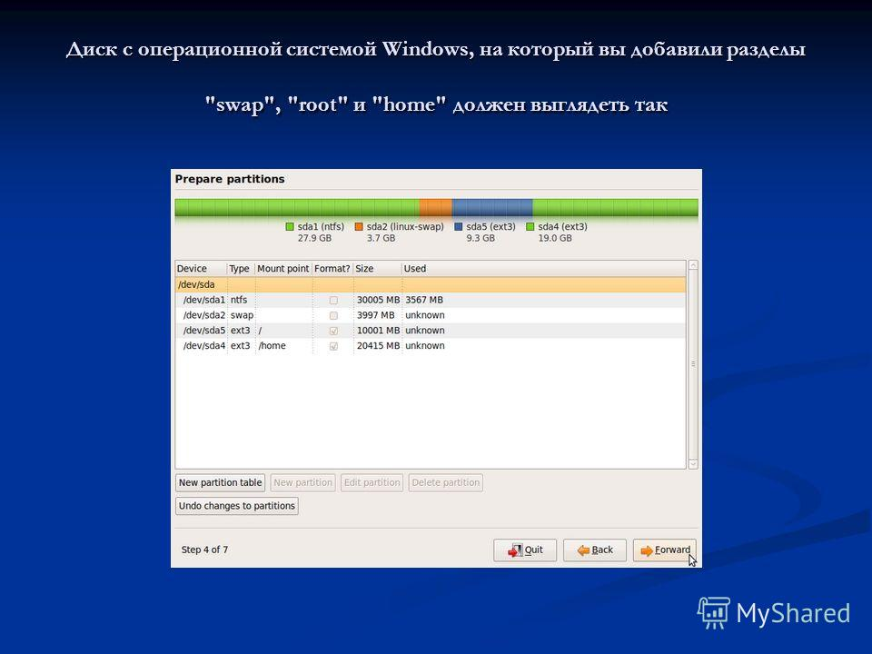 Диск с операционной системой Windows, на который вы добавили разделы swap, root и home должен выглядеть так