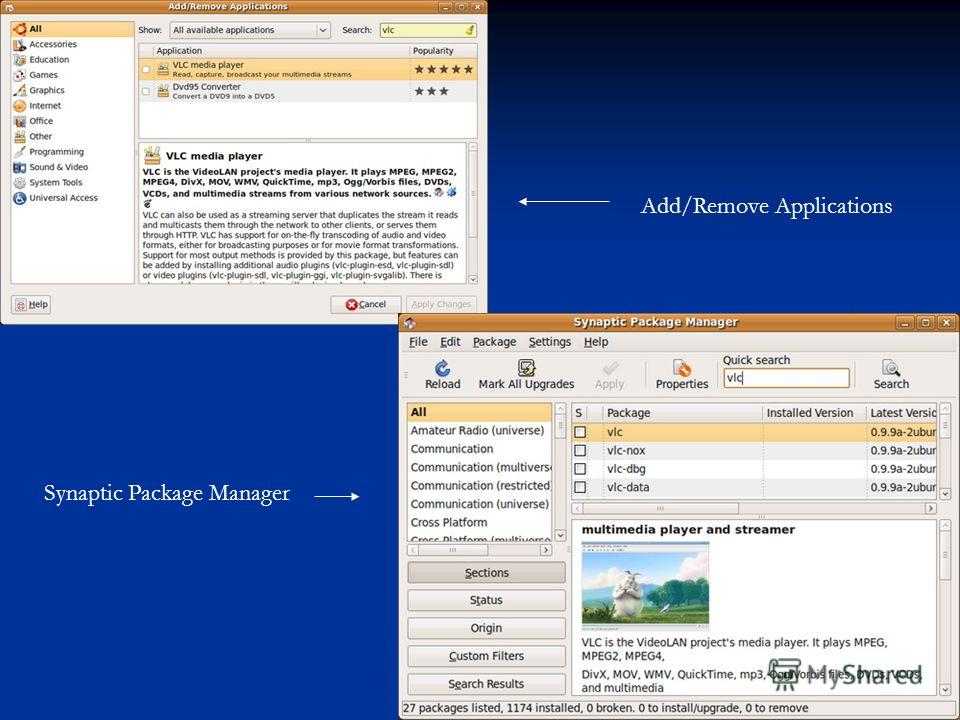 Synaptic Package Manager Add/Remove Applications