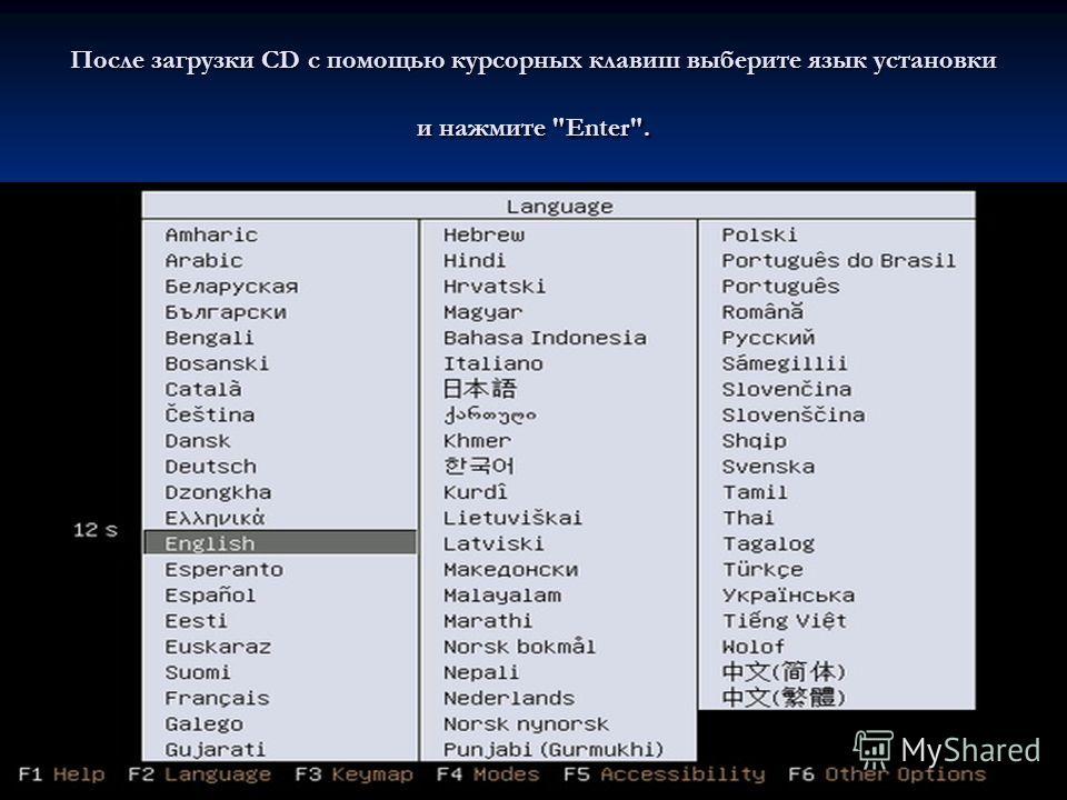 После загрузки CD с помощью курсорных клавиш выберите язык установки и нажмите Enter.