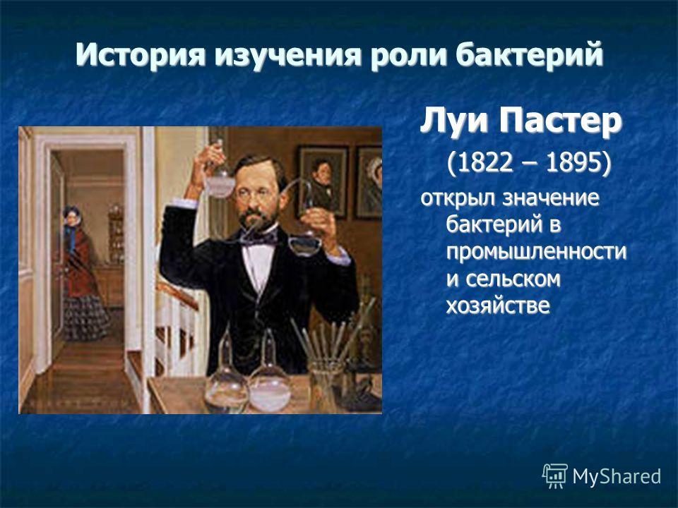 История изучения роли бактерий Луи Пастер (1822 – 1895) открыл значение бактерий в промышленности и сельском хозяйстве