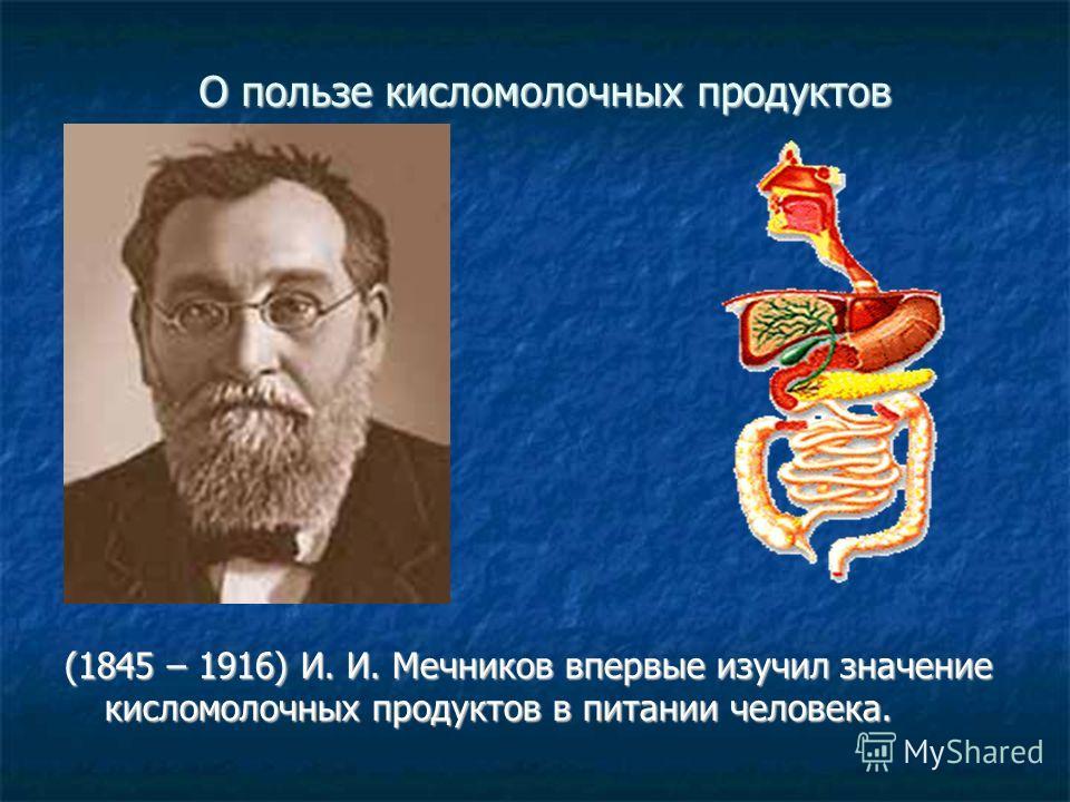 О пользе кисломолочных продуктов (1845 – 1916) И. И. Мечников впервые изучил значение кисломолочных продуктов в питании человека.