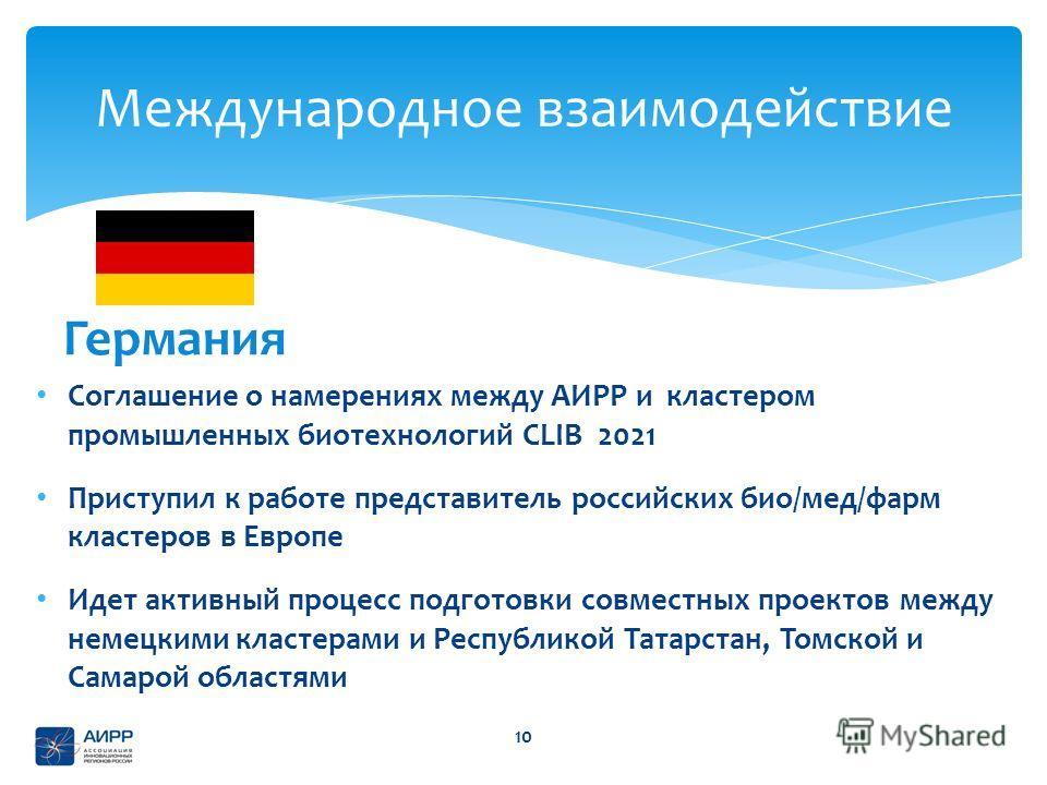 Соглашение о намерениях между АИРР и кластером промышленных биотехнологий CLIB 2021 Приступил к работе представитель российских био/мед/фарм кластеров в Европе Идет активный процесс подготовки совместных проектов между немецкими кластерами и Республи