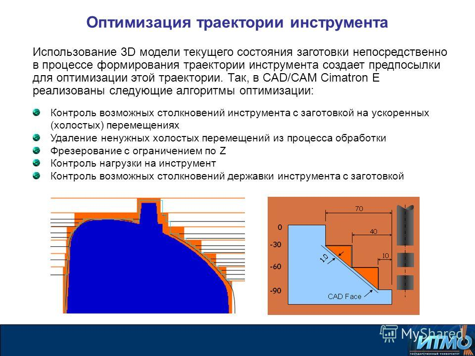 Оптимизация траектории инструмента Использование 3D модели текущего состояния заготовки непосредственно в процессе формирования траектории инструмента создает предпосылки для оптимизации этой траектории. Так, в CAD/CAM Cimatron E реализованы следующи