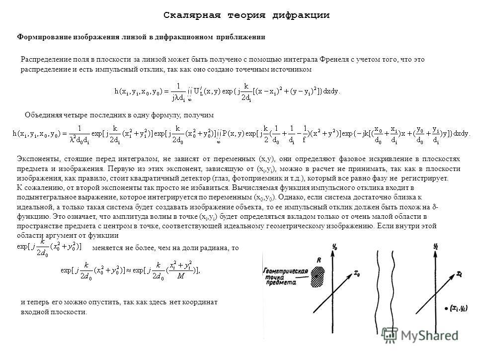 112 Распределение поля в плоскости за линзой может быть получено с помощью интеграла Френеля с учетом того, что это распределение и есть импульсный отклик, так как оно создано точечным источником Объединяя четыре последних в одну формулу, получим Экс