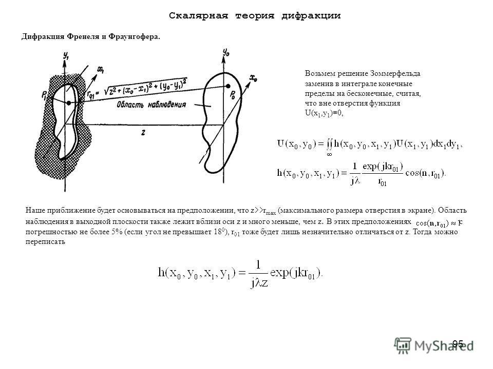 95 Дифракция Френеля и Фраунгофера. Возьмем решение Зоммерфельда заменив в интеграле конечные пределы на бесконечные, считая, что вне отверстия функция U(x 1,y 1 ) 0, Наше приближение будет основываться на предположении, что z r max (максимального ра