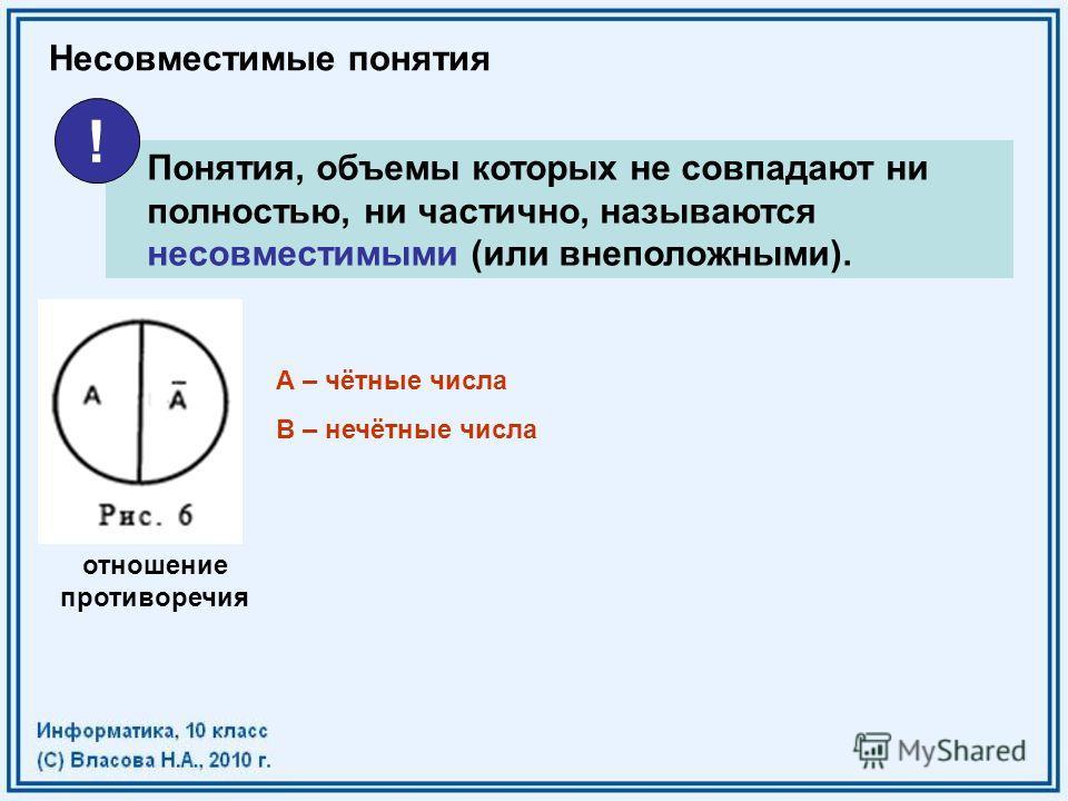 Несовместимые понятия Понятия, объемы которых не совпадают ни полностью, ни частично, называются несовместимыми (или внеположными). ! отношение противоречия А – чётные числа В – нечётные числа