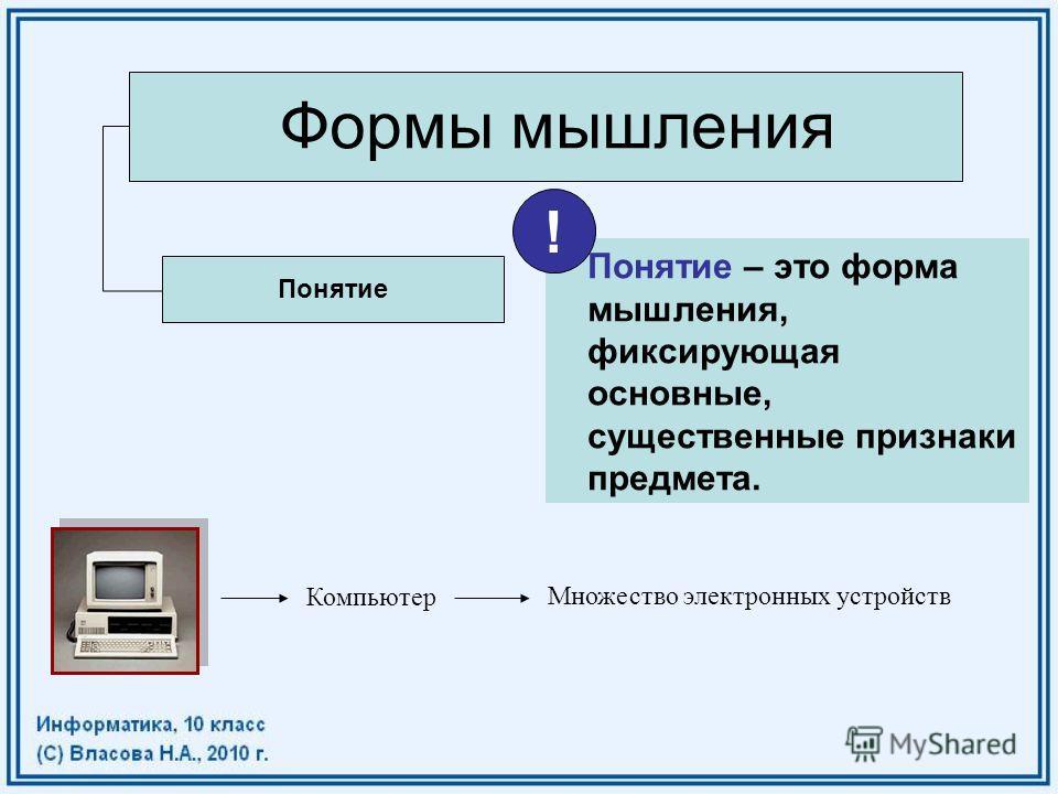 Формы мышления Понятие Компьютер Множество электронных устройств Понятие – это форма мышления, фиксирующая основные, существенные признаки предмета. !