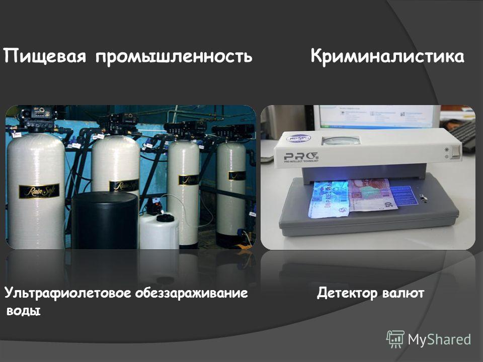 Пищевая промышленность Криминалистика Ультрафиолетовое обеззараживание Детектор валют воды