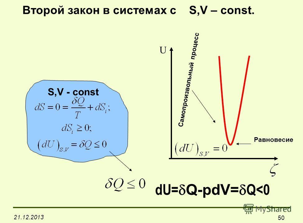 21.12.2013 50 S,V - const U Самопроизвольный процесс Равновесие Второй закон в системах с S,V – const. dU= Q-pdV= Q