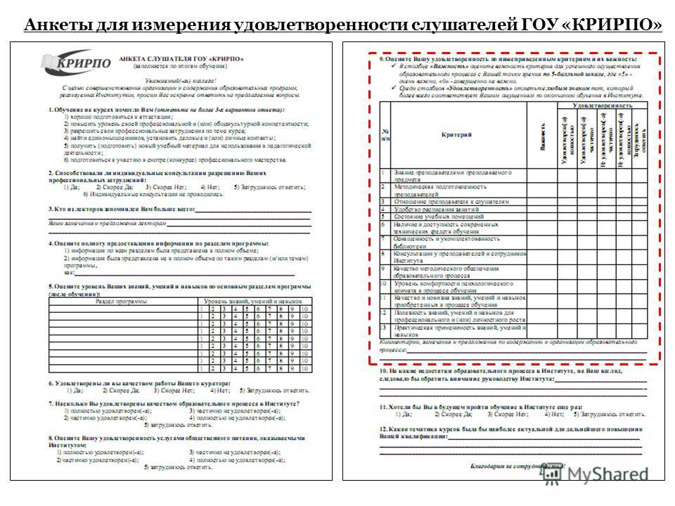 Анкеты для измерения удовлетворенности слушателей ГОУ «КРИРПО»