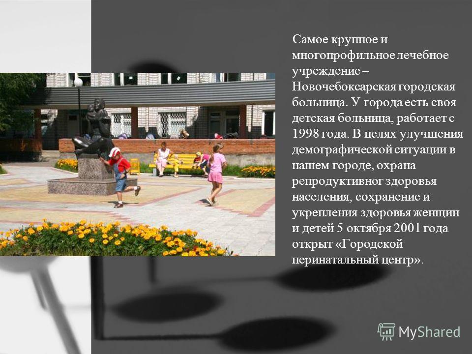 Самое крупное и многопрофильное лечебное учреждение – Новочебоксарская городская больница. У города есть своя детская больница, работает с 1998 года. В целях улучшения демографической ситуации в нашем городе, охрана репродуктивног здоровья населения,