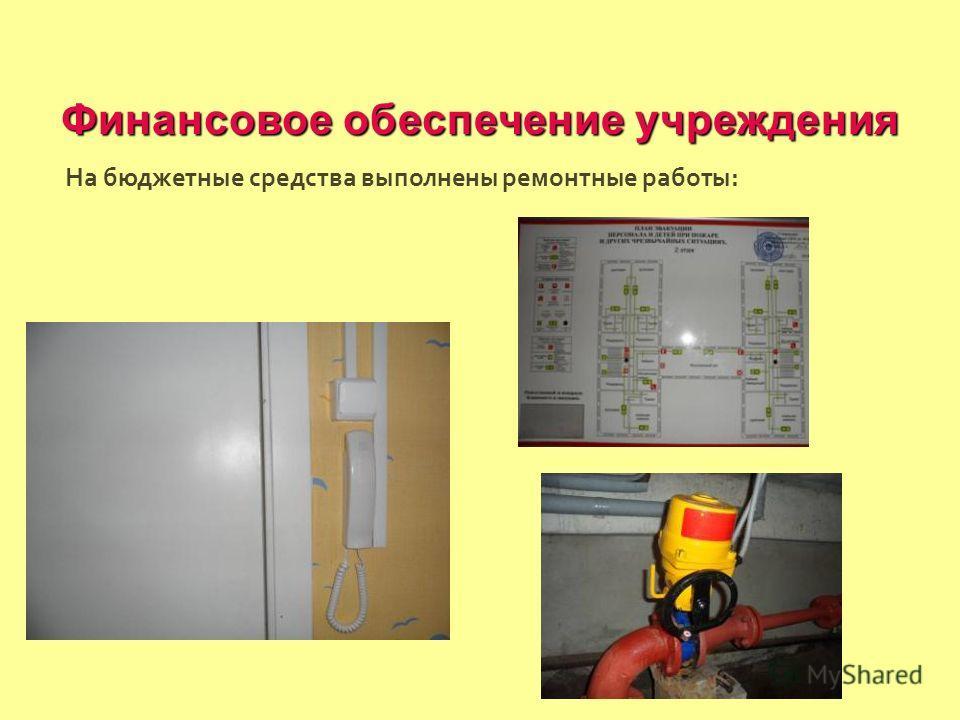 Финансовое обеспечение учреждения На бюджетные средства выполнены ремонтные работы :