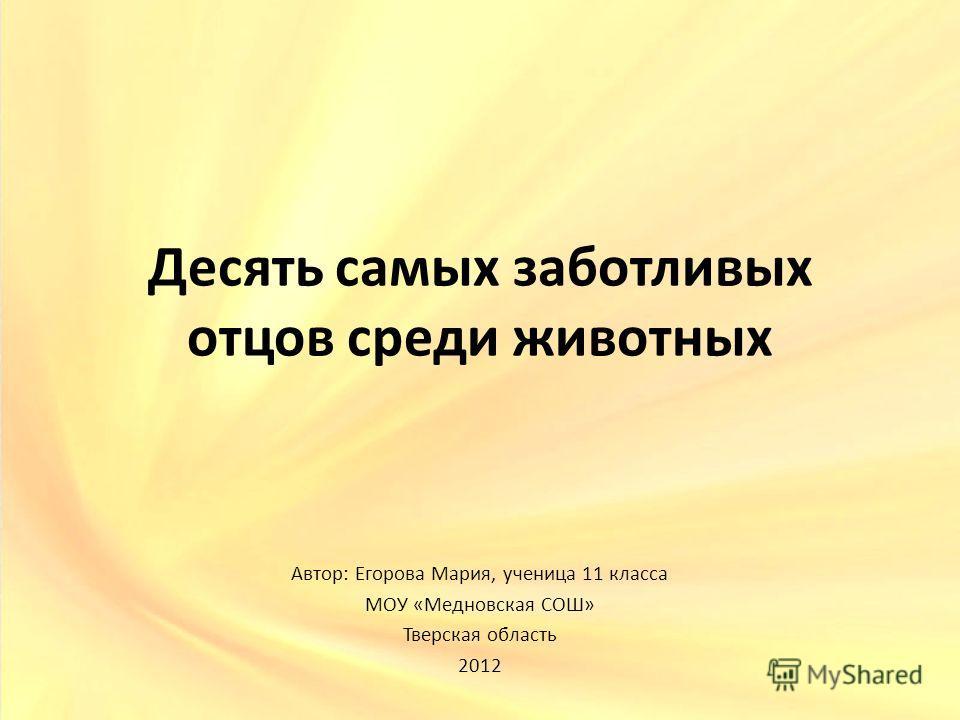 Десять самых заботливых отцов среди животных Автор: Егорова Мария, ученица 11 класса МОУ «Медновская СОШ» Тверская область 2012