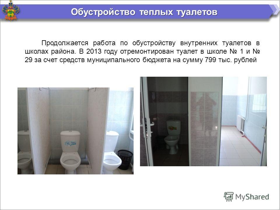 Обустройство теплых туалетов Продолжается работа по обустройству внутренних туалетов в школах района. В 2013 году отремонтирован туалет в школе 1 и 29 за счет средств муниципального бюджета на сумму 799 тыс. рублей
