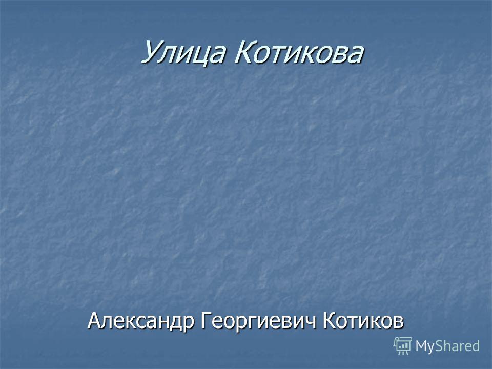 Улица Котикова Александр Георгиевич Котиков