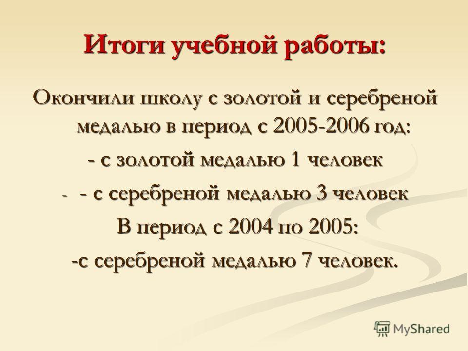 Итоги учебной работы: Окончили школу с золотой и серебреной медалью в период с 2005-2006 год: - с золотой медалью 1 человек - - с серебреной медалью 3 человек В период с 2004 по 2005: В период с 2004 по 2005: -с серебреной медалью 7 человек.