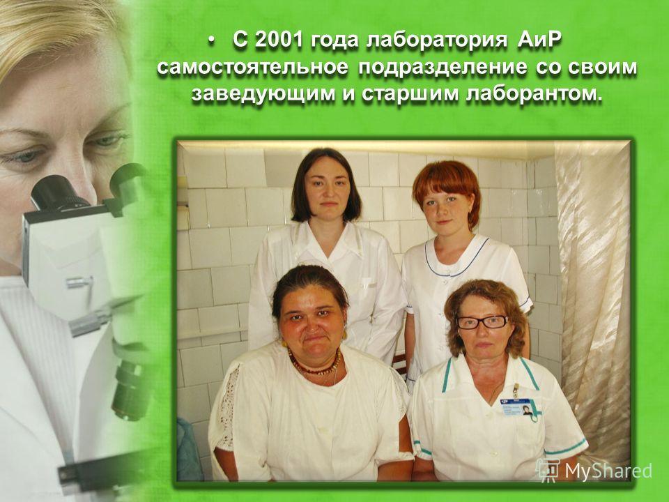 С 2001 года лаборатория АиР самостоятельное подразделение со своим заведующим и старшим лаборантом.С 2001 года лаборатория АиР самостоятельное подразделение со своим заведующим и старшим лаборантом.