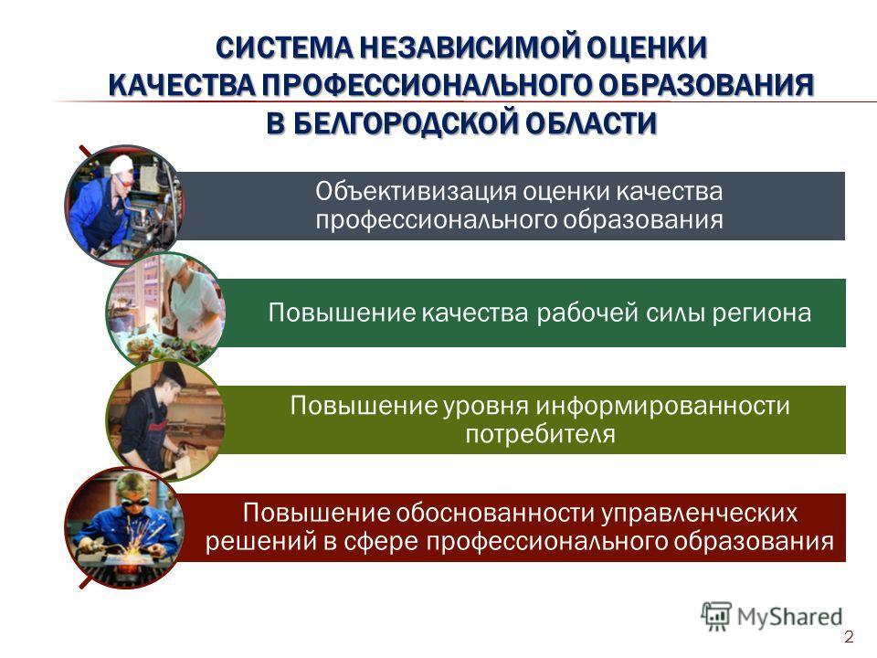 СИСТЕМА НЕЗАВИСИМОЙ ОЦЕНКИ КАЧЕСТВА ПРОФЕССИОНАЛЬНОГО ОБРАЗОВАНИЯ В БЕЛГОРОДСКОЙ ОБЛАСТИ 2 Объективизация оценки качества профессионального образования Повышение качества рабочей силы региона Повышение уровня информированности потребителя Повышение о