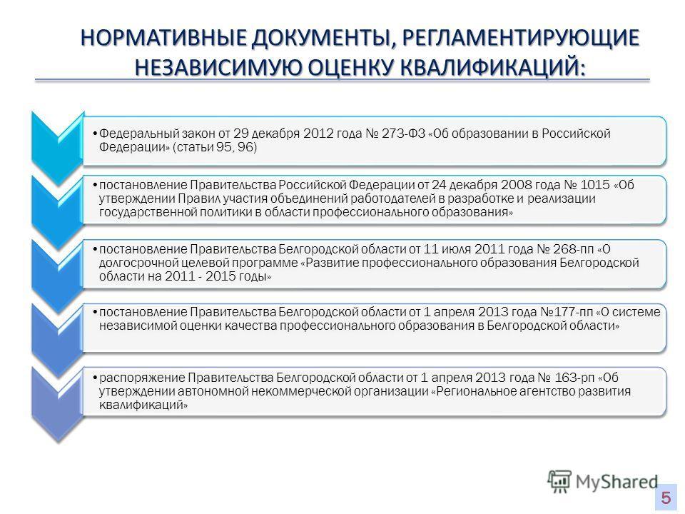 4 НОРМАТИВНЫЕ ДОКУМЕНТЫ, РЕГЛАМЕНТИРУЮЩИЕ НЕЗАВИСИМУЮ ОЦЕНКУ КВАЛИФИКАЦИЙ: Федеральный закон от 29 декабря 2012 года 273-ФЗ «Об образовании в Российской Федерации» (статьи 95, 96) постановление Правительства Российской Федерации от 24 декабря 2008 го