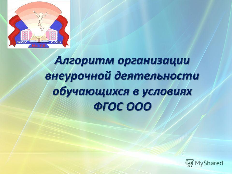 Алгоритм организации внеурочной деятельности обучающихся в условиях ФГОС ООО
