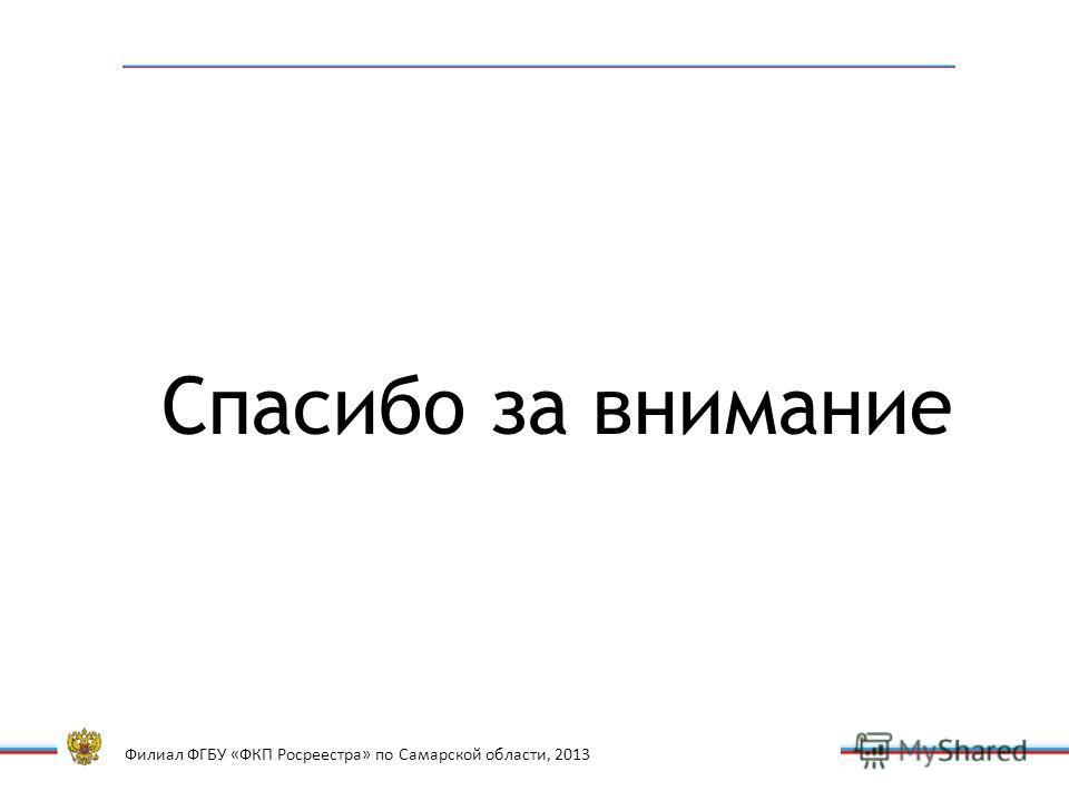 Филиал ФГБУ «ФКП Росреестра» по Самарской области, 2013 Спасибо за внимание