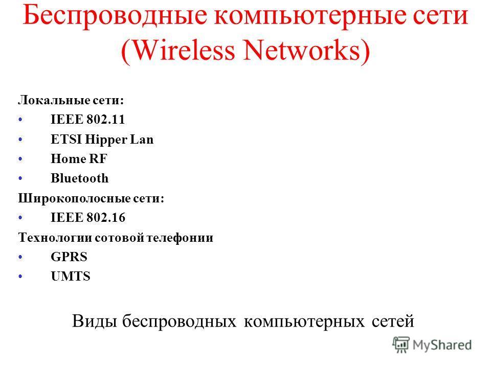 Беспроводные компьютерные сети (Wireless Networks) Локальные сети: IEEE 802.11 ETSI Hipper Lan Home RF Bluetooth Широкополосные сети: IEEE 802.16 Технологии сотовой телефонии GPRS UMTS Виды беспроводных компьютерных сетей