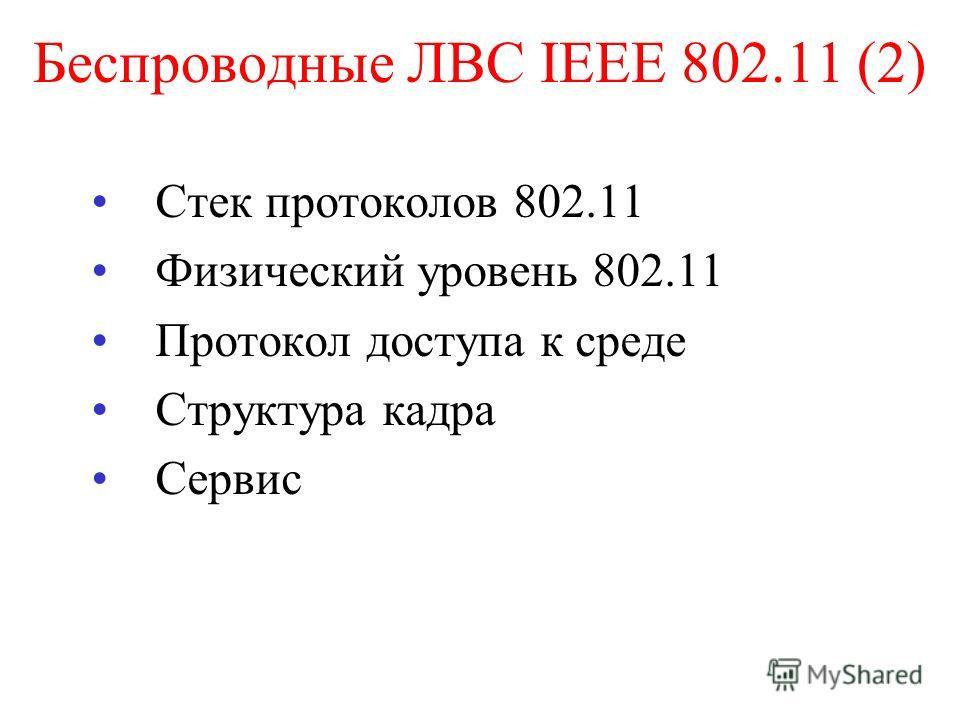 Беспроводные ЛВС IEEE 802.11 (2) Стек протоколов 802.11 Физический уровень 802.11 Протокол доступа к среде Структура кадра Сервис