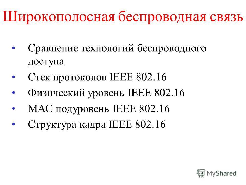 Широкополосная беспроводная связь Сравнение технологий беспроводного доступа Стек протоколов IEEE 802.16 Физический уровень IEEE 802.16 MAC подуровень IEEE 802.16 Структура кадра IEEE 802.16