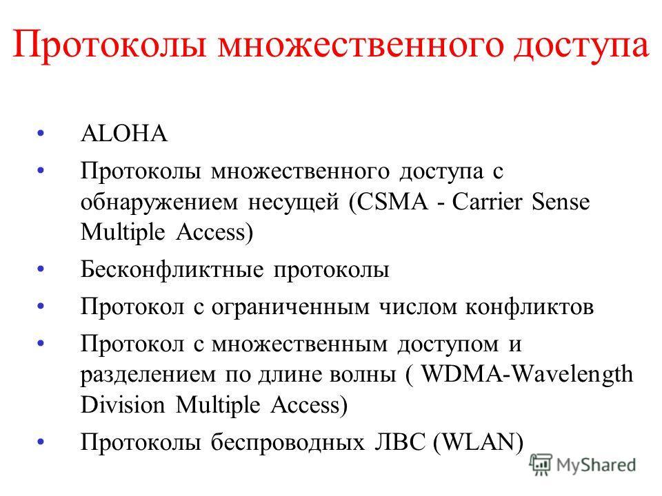 Протоколы множественного доступа ALOHA Протоколы множественного доступа с обнаружением несущей (CSMA - Carrier Sense Multiple Access) Бесконфликтные протоколы Протокол с ограниченным числом конфликтов Протокол с множественным доступом и разделением п
