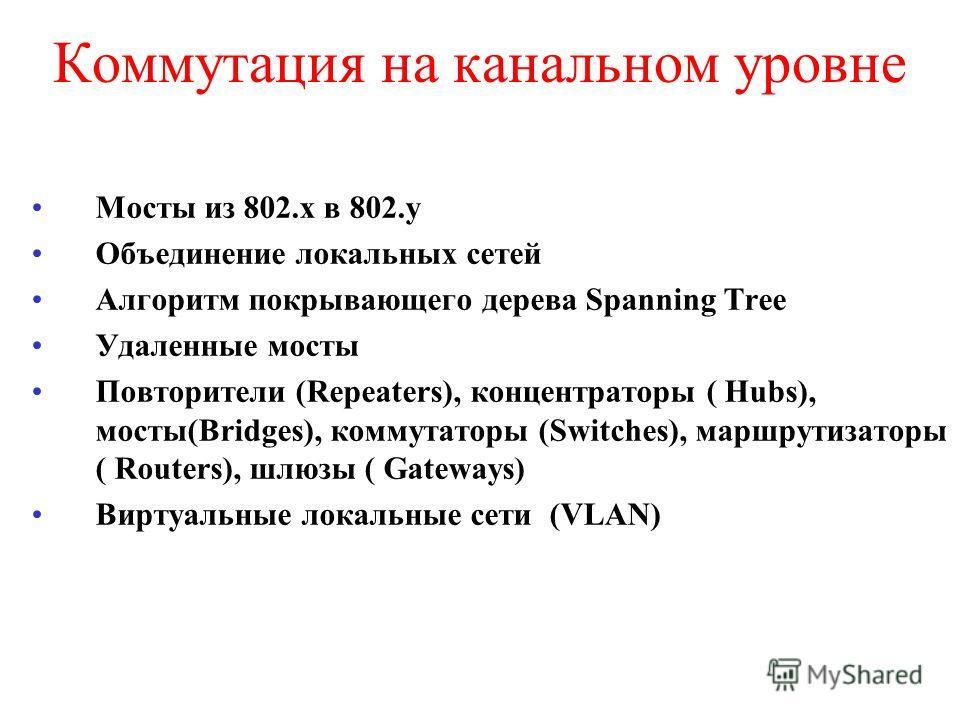 Коммутация на канальном уровне Мосты из 802.х в 802.у Объединение локальных сетей Алгоритм покрывающего дерева Spanning Tree Удаленные мосты Повторители (Repeaters), концентраторы ( Hubs), мосты(Bridges), коммутаторы (Switches), маршрутизаторы ( Rout