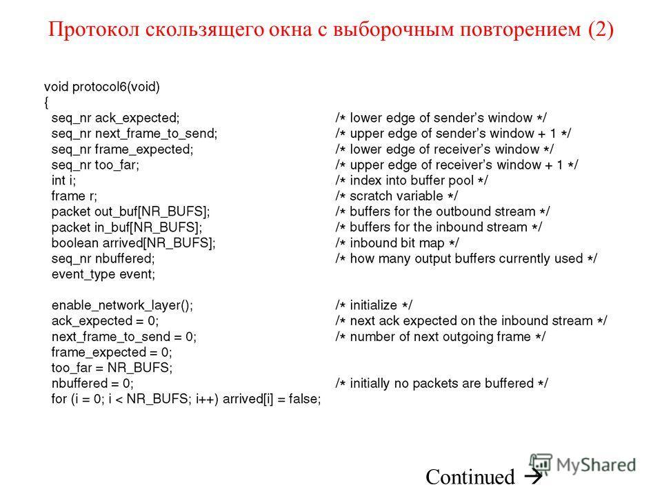 Протокол скользящего окна с выборочным повторением (2)