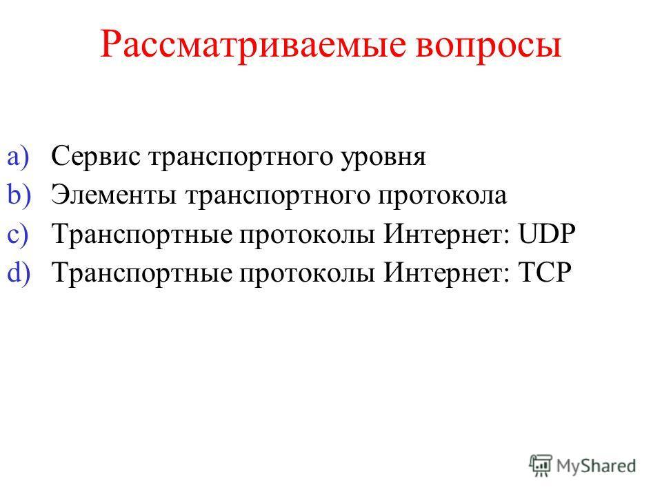Рассматриваемые вопросы a)Сервис транспортного уровня b)Элементы транспортного протокола c)Транспортные протоколы Интернет: UDP d)Транспортные протоколы Интернет: ТСP