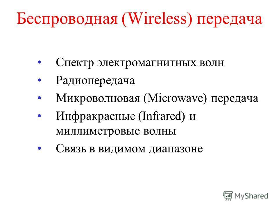 Беспроводная (Wireless) передача Спектр электромагнитных волн Радиопередача Микроволновая (Microwave) передача Инфракрасные (Infrared) и миллиметровые волны Связь в видимом диапазоне