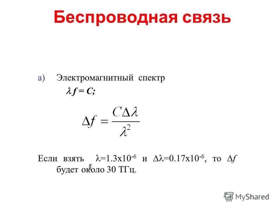 Беспроводная связь a)Электромагнитный спектр f = С; Если взять =1.3х10 -6 и =0.17х10 -6, то f будет около 30 ТГц.