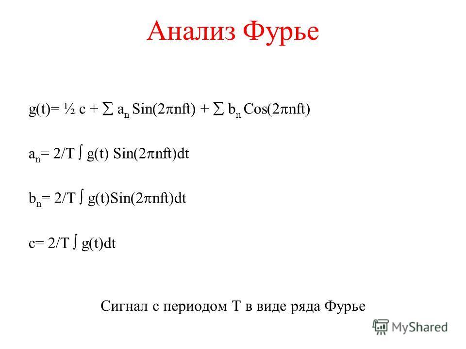 Анализ Фурье g(t)= ½ c + a n Sin(2 nft) + b n Cos(2 nft) a n = 2/T g(t) Sin(2 nft)dt b n = 2/T g(t)Sin(2 nft)dt c= 2/T g(t)dt Сигнал с периодом Т в виде ряда Фурье