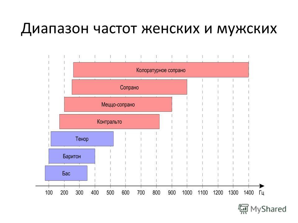 Диапазон частот женских и мужских