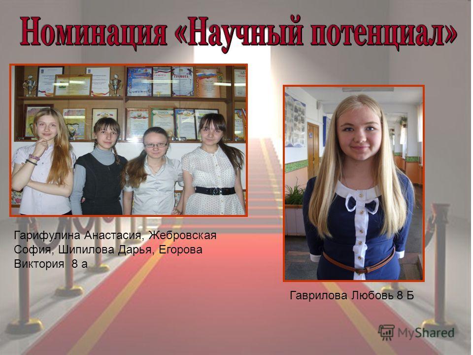Гарифулина Анастасия, Жебровская София, Шипилова Дарья, Егорова Виктория 8 а Гаврилова Любовь 8 Б