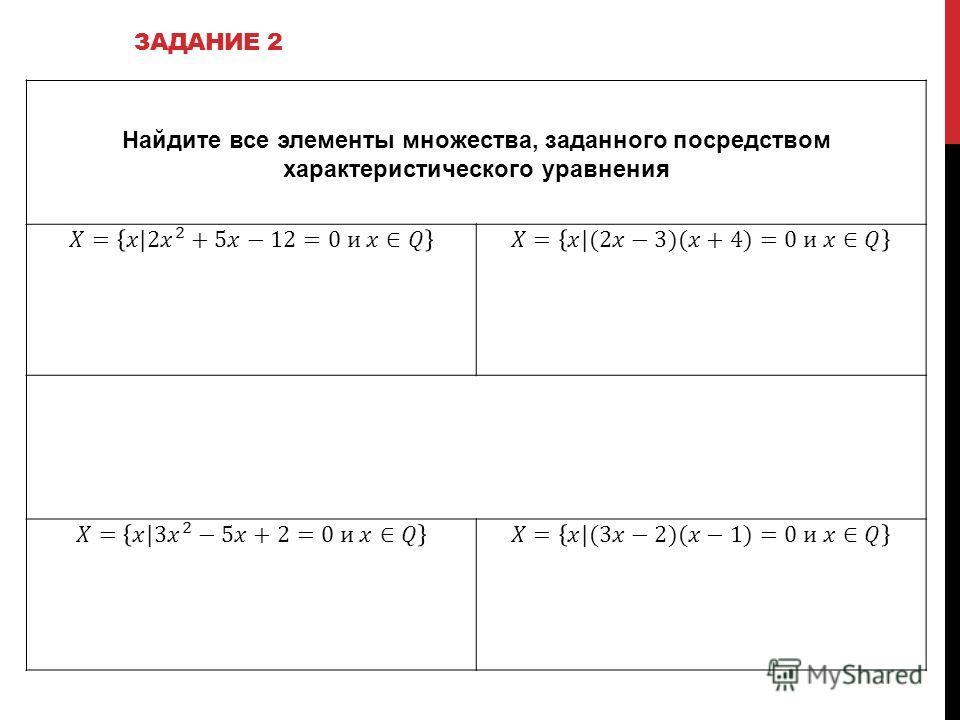 Найдите все элементы множества, заданного посредством характеристического уравнения ЗАДАНИЕ 2