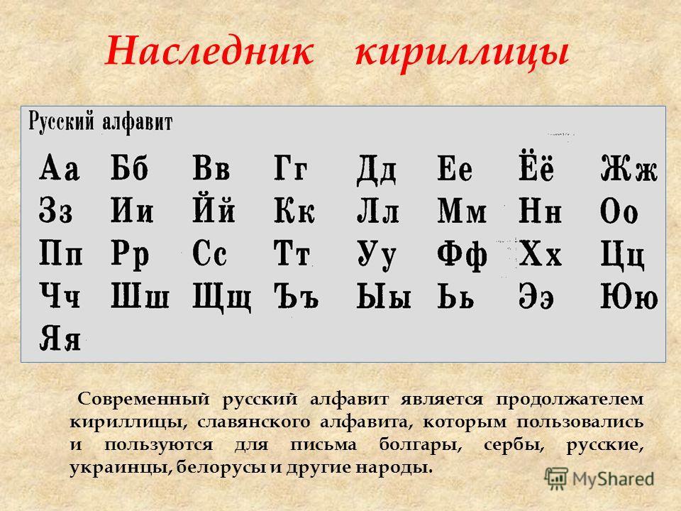 Наследник кириллицы Современный русский алфавит является продолжателем кириллицы, славянского алфавита, которым пользовались и пользуются для письма болгары, сербы, русские, украинцы, белорусы и другие народы.