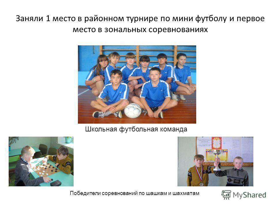 Заняли 1 место в районном турнире по мини футболу и первое место в зональных соревнованиях Школьная футбольная команда Победители соревнований по шашкам и шахматам