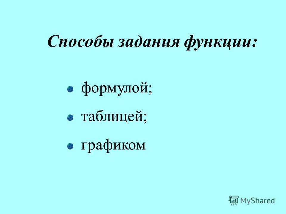 Способы задания функции: формулой; таблицей; графиком