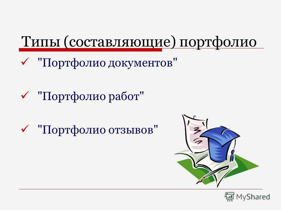 Типы (составляющие) портфолио Портфолио документов Портфолио работ Портфолио отзывов