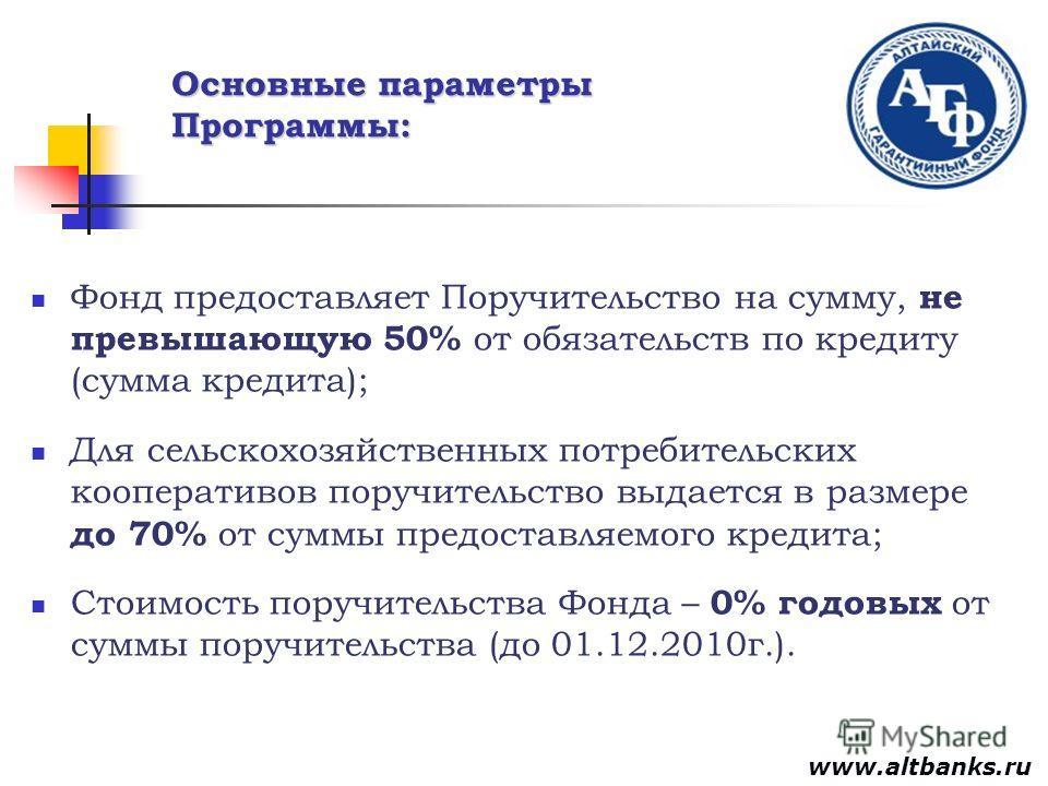 Основные параметры Программы: Фонд предоставляет Поручительство на сумму, не превышающую 50% от обязательств по кредиту (сумма кредита); Для сельскохозяйственных потребительских кооперативов поручительство выдается в размере до 70% от суммы предостав