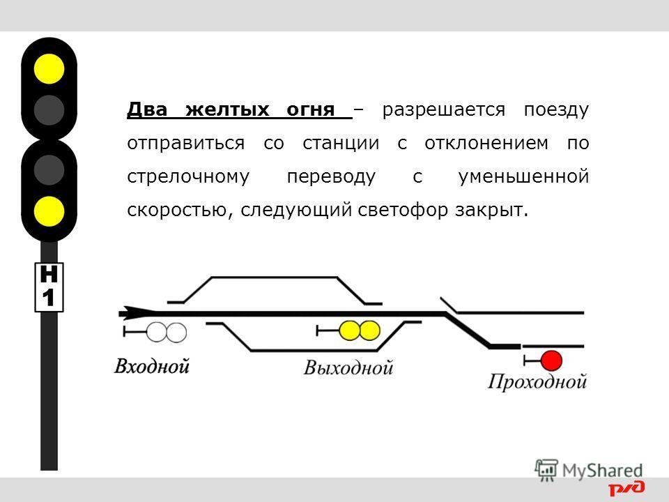 Два желтых огня – разрешается поезду отправиться со станции с отклонением по стрелочному переводу с уменьшенной скоростью, следующий светофор закрыт.