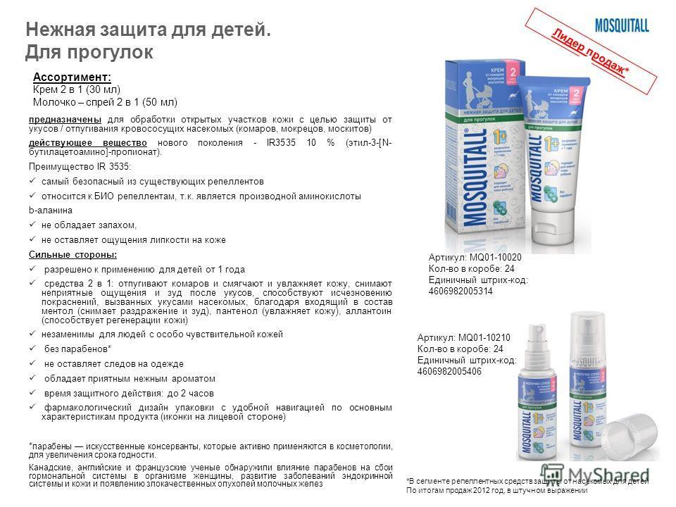 предназначены для обработки открытых участков кожи с целью защиты от укусов / отпугивания кровососущих насекомых (комаров, мокрецов, москитов) действующее вещество нового поколения - IR3535 10 % (этил-3-[N- бутилацетоамино]-пропионат). Преимущество I