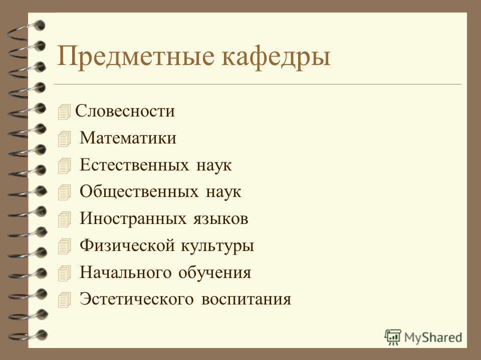 Предметные кафедры 4 Словесности 4 Математики 4 Естественных наук 4 Общественных наук 4 Иностранных языков 4 Физической культуры 4 Начального обучения 4 Эстетического воспитания