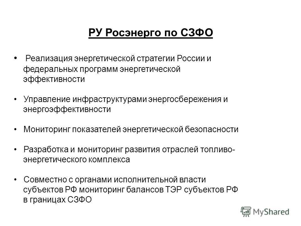РУ Росэнерго по СЗФО Реализация энергетической стратегии России и федеральных программ энергетической эффективности Управление инфраструктурами энергосбережения и энергоэффективности Мониторинг показателей энергетической безопасности Разработка и мон